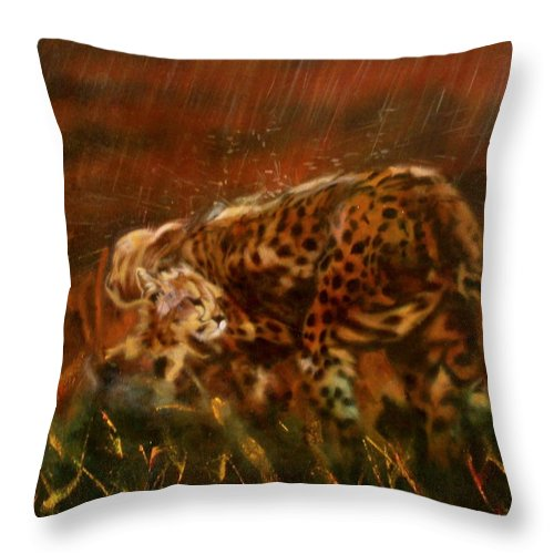 Rain;water;cats;africa;wildlife;animals;mother;shelter;brush;bush Throw Pillow featuring the painting Cheetah Family After The Rains by Sean Connolly