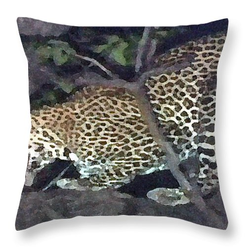 Africa Throw Pillow featuring the painting Cheetah Feeding In A Tree by George Pedro