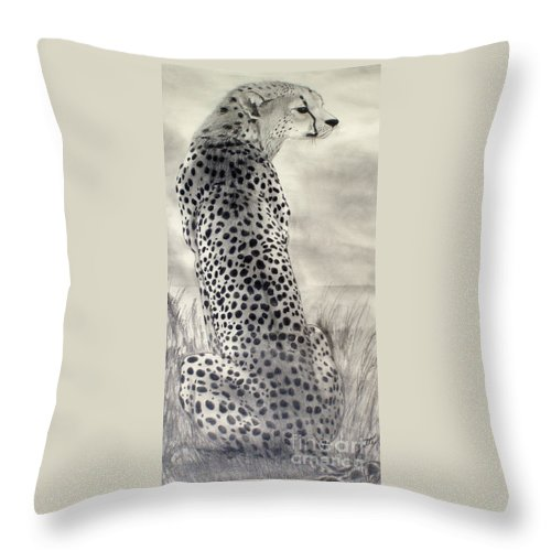 Cheetah Throw Pillow featuring the drawing Cheetah by Suzette Kallen
