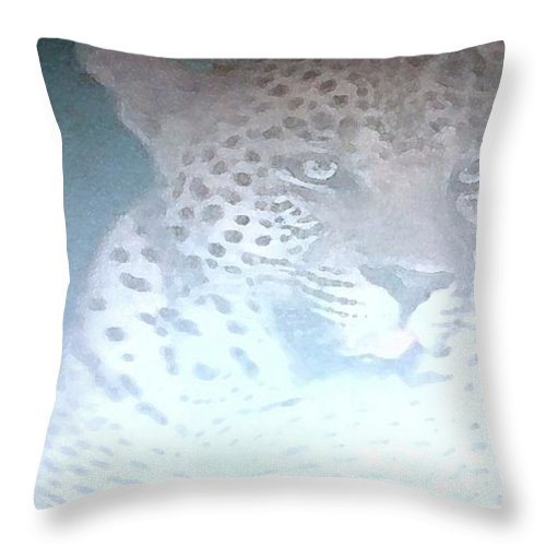 Africa Throw Pillow featuring the painting Cheetah Visits The Camp At Night by George Pedro