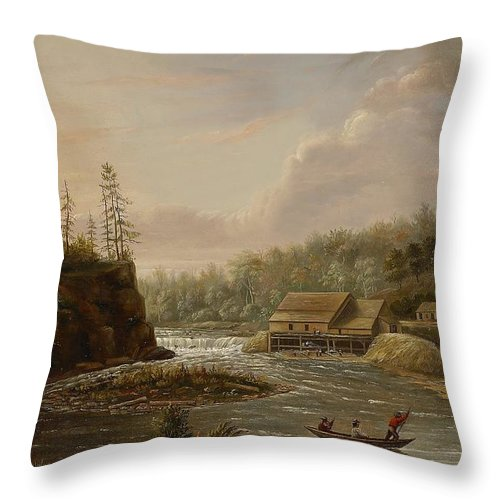Cheever's Mill; St. Croix River; Landscape; Minnesota; Mill; Building; Industry; Industrial; Industrialisation; Boat; Figures; Houses; Buildings; Exterior; Flowing; Water; Trees; Woodland; Logging; Timber; America; American; Usa; Settlers; Settlement; Hudson River School; Wood Throw Pillow featuring the painting Cheevers Mill On The St. Croix River by Henry Lewis