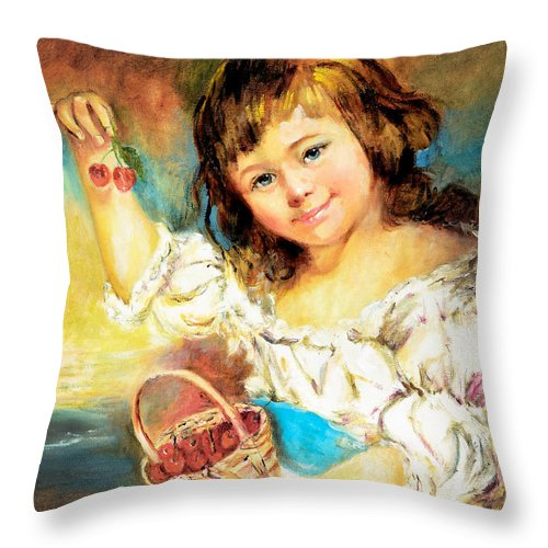 Girl Throw Pillow featuring the painting Cherry Basket Girl by Sher Nasser