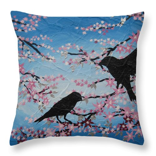 2 Birds Throw Pillow featuring the painting Cherry Blossom Birds by Cathy Jacobs