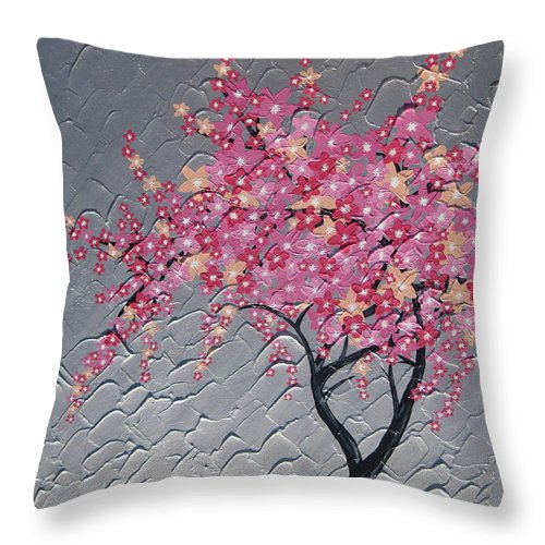 Cherry Blossom Throw Pillow featuring the painting Cherry Blossom In Pink by Cathy Jacobs