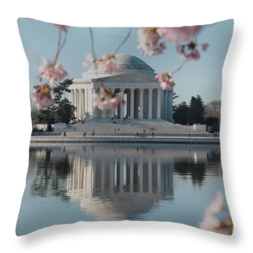 Cherry Blossoms Throw Pillow featuring the photograph Cherry Blossoms And Jefferson Memorial by Luv Photography
