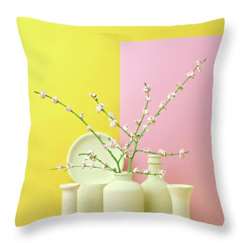 Out Of Context Throw Pillow featuring the photograph Cherry Blossom Popcorn In Monochromatic by Juj Winn