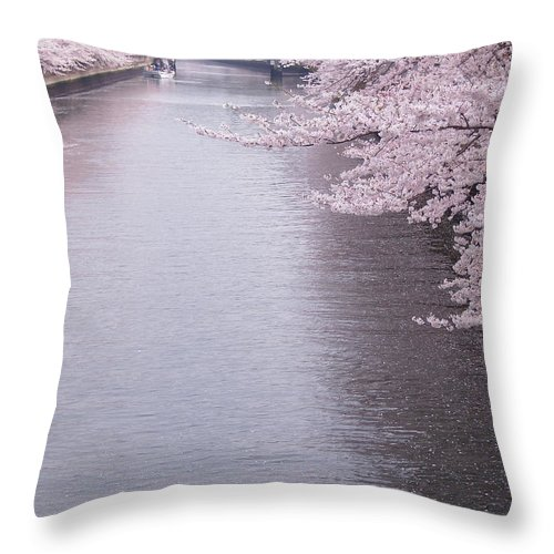 Scenics Throw Pillow featuring the photograph Cherry Blossoms Along A River by Neconote