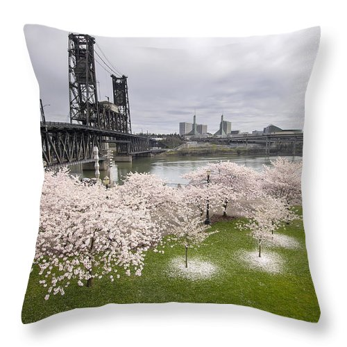 Cherry Throw Pillow featuring the photograph Cherry Blossoms Along Willamette River by Jit Lim