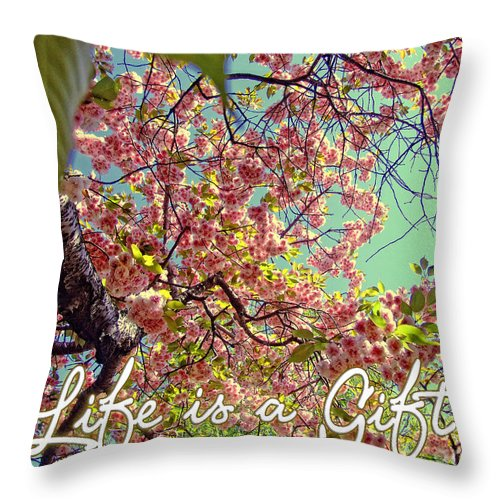 Quotes Throw Pillow featuring the photograph Cherry Blossoms And A Life Quote by Nishanth Gopinathan