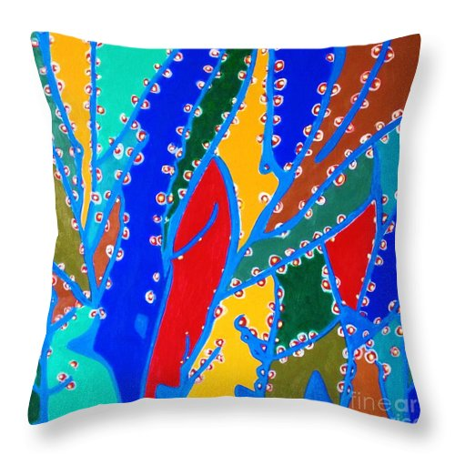 Eunice Broderick Throw Pillow featuring the painting Cherry Blossoms by Eunice Broderick