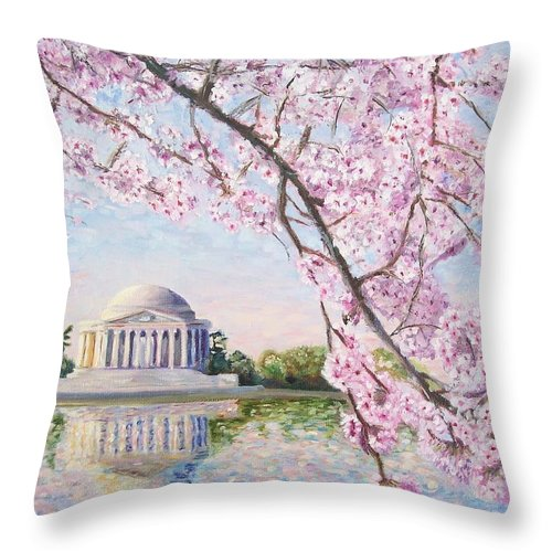 Jefferson Memorial Throw Pillow featuring the painting Jefferson Memorial Cherry Blossoms by Patty Kay Hall