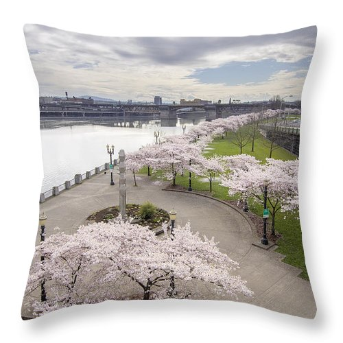 Cherry Throw Pillow featuring the photograph Cherry Blossoms Trees Along Willamette River Waterfront by Jit Lim