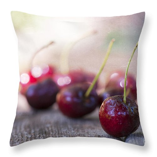 Bokeh Throw Pillow featuring the photograph Cherry Delites by Juli Scalzi
