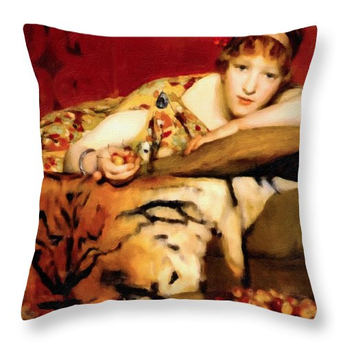 Cherries Throw Pillow featuring the painting Cherry Girl by Georgiana Romanovna