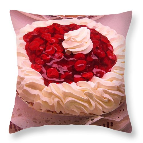 Still Life Throw Pillow featuring the painting Cherry Pie With Whip Cream by Amy Vangsgard