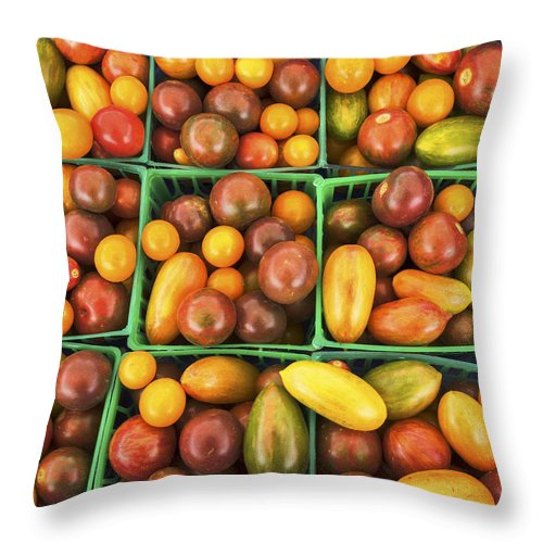 Tomatoes Throw Pillow featuring the photograph Cherry Tomatoes by David Kay
