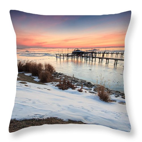 Landscape Throw Pillow featuring the photograph Chesapeake Bay Freeze by Jennifer Casey