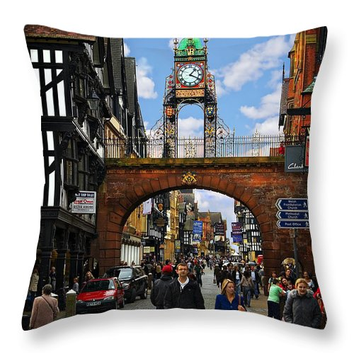Chester Throw Pillow featuring the photograph Chester Eastgate Clock by Meirion Matthias