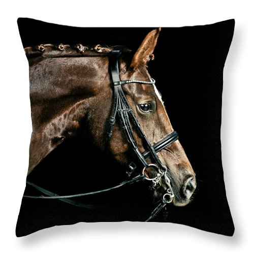 Horse Throw Pillow featuring the photograph Chestnut Dressage Horse Groomed For A by Anja Hild