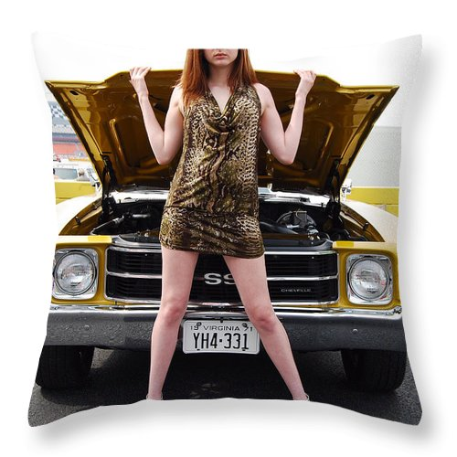 American Muscle Car Throw Pillow featuring the photograph Chevelle Chick by Mark Spearman
