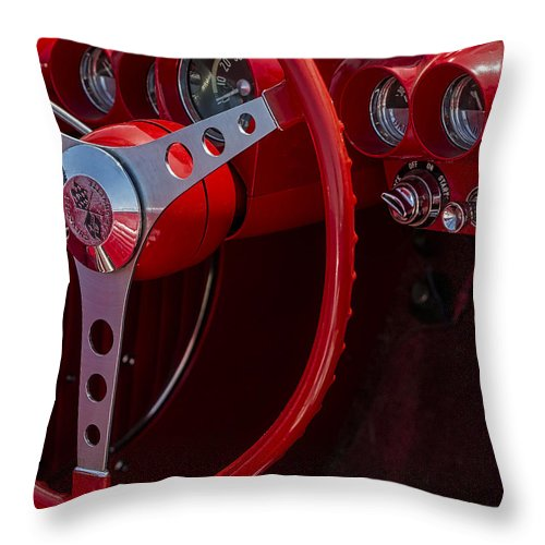 Chevy Corvette Throw Pillow featuring the photograph Chevrolet Corvette Red 1962 by Susan Candelario