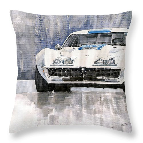 Watercolor Throw Pillow featuring the painting Chevrolet Corvette C3 by Yuriy Shevchuk