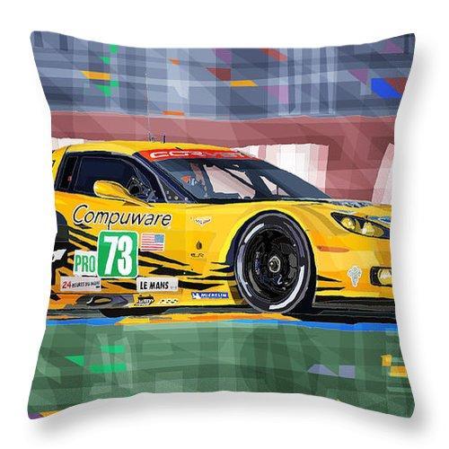 Automotive Throw Pillow featuring the digital art Chevrolet Corvette C6R GTE Pro Le Mans 24 2012 by Yuriy Shevchuk