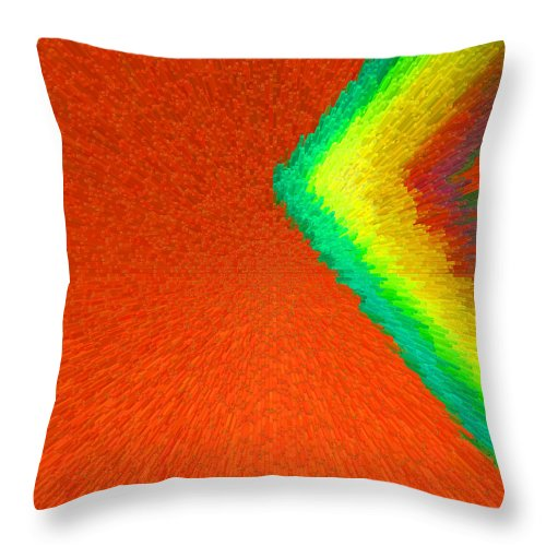 Abstract Throw Pillow featuring the painting Chevron Rainbow Orange C2014 by Paul Ashby