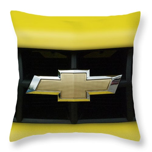Transportation Throw Pillow featuring the photograph Chevy Camero Emblem 01 by Thomas Woolworth