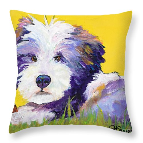 Tibetan Terrier Throw Pillow featuring the painting Chew Stick by Pat Saunders-White