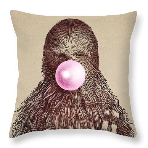 Bubblegum Throw Pillow featuring the drawing Big Chew by Eric Fan