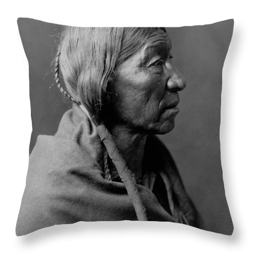1910 Throw Pillow featuring the photograph Cheyenne Indian Woman Circa 1910 by Aged Pixel