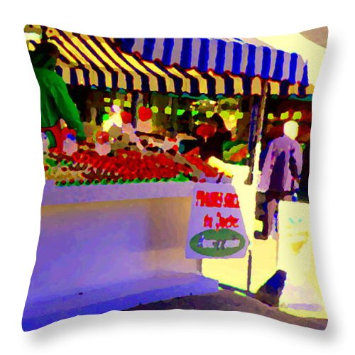 Markets Throw Pillow featuring the painting Chez Nino At Marche Jean Talon Montreal A Taste Of Culinary Culture Food Art Scenes Carole Spandau by Carole Spandau