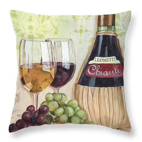 Wine Throw Pillow featuring the painting Chianti and Friends by Debbie DeWitt