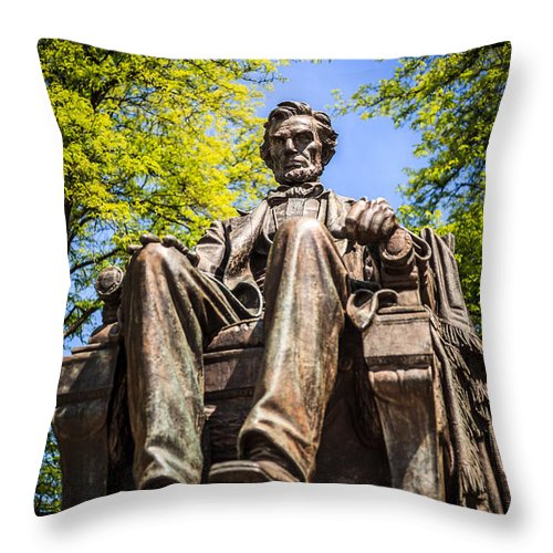 Chicago Abraham Lincoln Sitting Statue Throw Pillow For Sale By Paul Velgos
