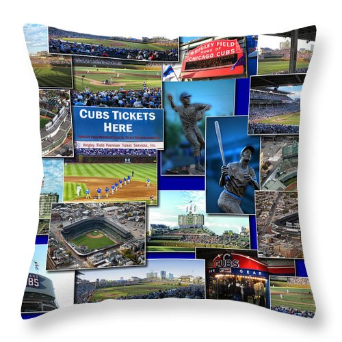 Collage Throw Pillow featuring the photograph Chicago Cubs Collage by Thomas Woolworth