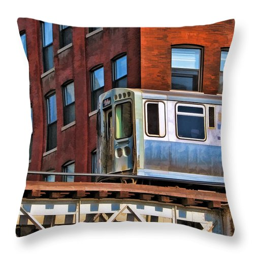 Chicago Throw Pillow featuring the painting Chicago El And Warehouse by Christopher Arndt