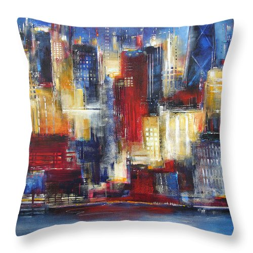 Chicago Art Throw Pillow featuring the painting Chicago In The Evening by Kathleen Patrick