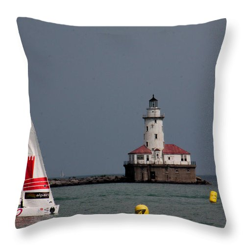 Throw Pillow featuring the photograph Chicago Lighthouse by Sue Conwell