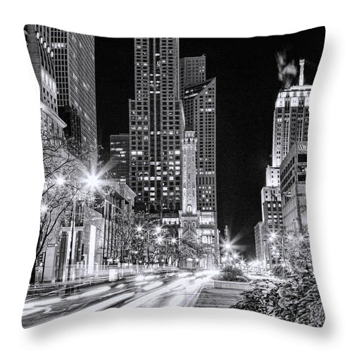 Chicago Throw Pillow featuring the painting Chicago Michigan Avenue Light Streak Black And White by Christopher Arndt