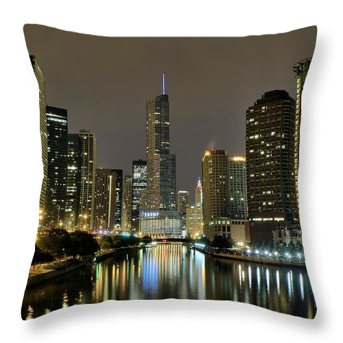 Chicago Throw Pillow featuring the photograph Chicago Night River View by Frozen in Time Fine Art Photography