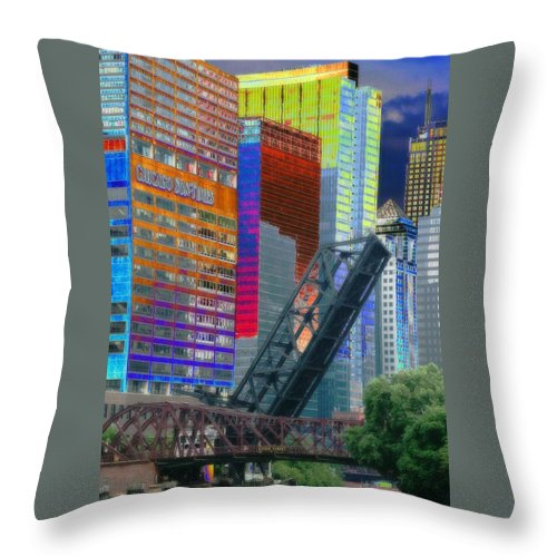 Landscape Throw Pillow featuring the photograph Chicago River Architecture by Paul Szakacs