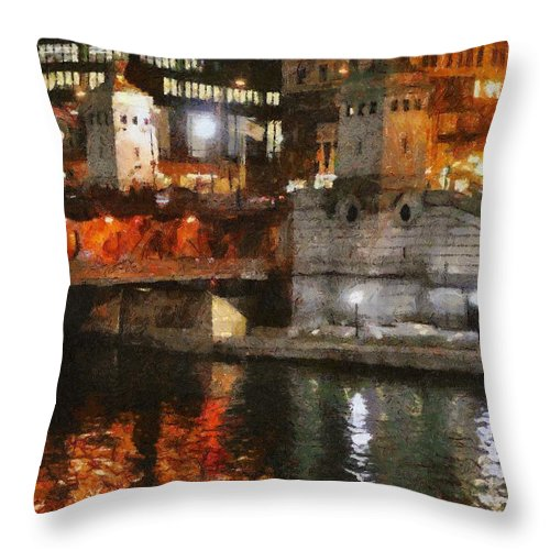 Bridge Throw Pillow featuring the painting Chicago River At Michigan Avenue by Jeffrey Kolker