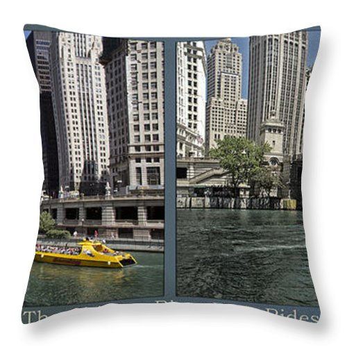 Riverwalk Throw Pillow featuring the photograph Chicago River Boat Rides 2 Panel by Thomas Woolworth