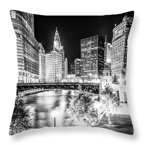America Throw Pillow featuring the photograph Chicago River Buildings at Night in Black and White by Paul Velgos