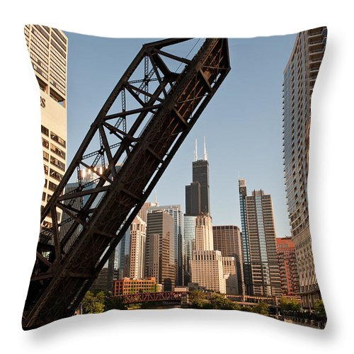 Chicago Throw Pillow featuring the photograph Chicago River Traffic by Steve Gadomski