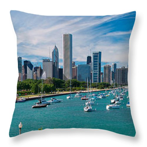 3scape Throw Pillow featuring the photograph Chicago Skyline Daytime Panoramic by Adam Romanowicz