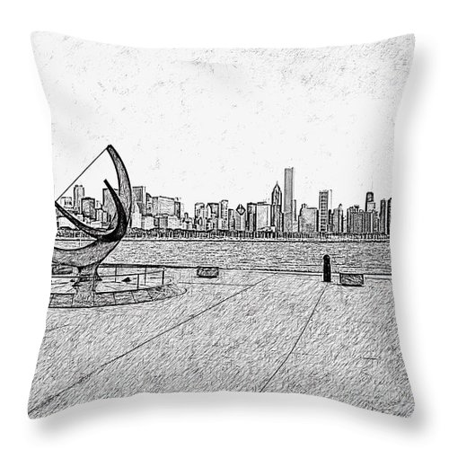 Chicago Throw Pillow featuring the photograph Chicago Skyline Hard Ink by David Lange