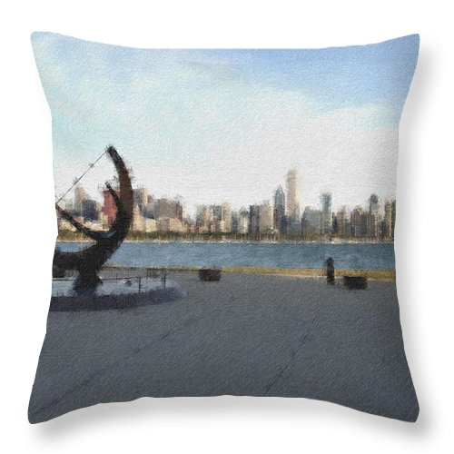 Chicago Throw Pillow featuring the photograph Chicago Skyline Pastel Chalk 2 by David Lange