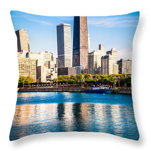 America Throw Pillow featuring the photograph Chicago Skyline Picture With Hancock Building by Paul Velgos